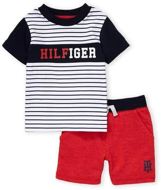 b78b0e8baf9dc Tommy Hilfiger Infant Boys) Two-Piece Striped Logo Tee & Knit Shorts Set