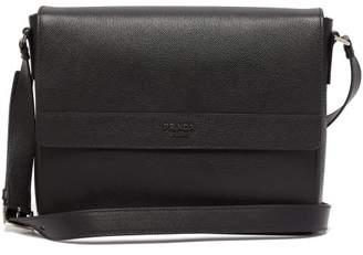 Prada Logo Plaque Leather Messenger Bag - Mens - Black