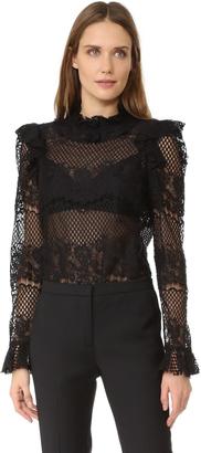 BCBGMAXAZRIA Lace Blouse $198 thestylecure.com