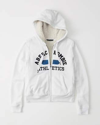Abercrombie & Fitch Sherpa-Lined Full-Zip Logo Hoodie