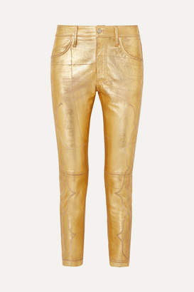 Golden Goose Jolly Embroidered Metallic Crinkled-leather Skinny Pants