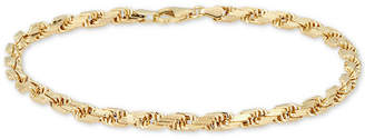 Italian Gold Men's Rope Chain Bracelet in 14k Gold, Made in Italy