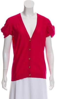 Magaschoni Silk-Blend Short Sleeve Cardigan