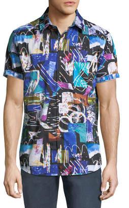 Robert Graham Men's Classic Fit Squiggly Short-Sleeve Sport Shirt
