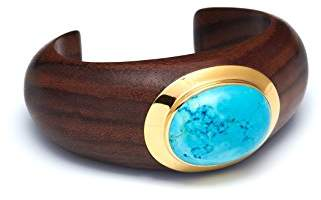 The Branch Jewellery Rosewood Crescent Medium Size Cuff with Blue Howlite Stone Set in Gold Plate of 8cm