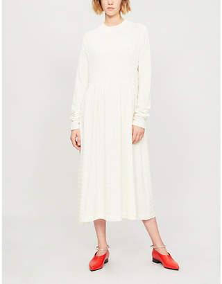 Jil Sander Textured-stripe wool-blend midi dress