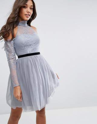 Asos Design PREMIUM Tulle Cold Shoulder Mini Prom Dress