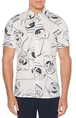 Perry Ellis Short Sleeve Large Rose Print Sport Shirt