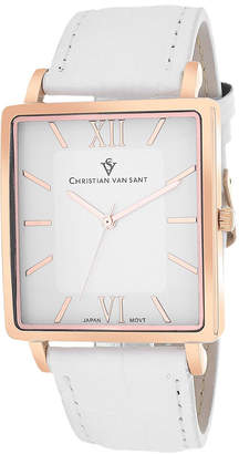 CHRISTIAN VAN SANT Christian Van Sant Monte Cristo Mens White Leather Strap Watch