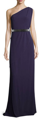 Halston Heritage One-Shoulder Belted Gown, Elderberry $575 thestylecure.com