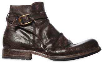 Mens Wrinkled Leather Double-Zip Boots Shoto
