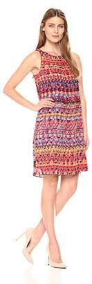 Robbie Bee Women's All Over Tribal Printed Chiffon Shift Dress