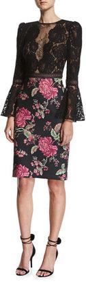 Tadashi Shoji Lace Trumpet-Sleeve Cocktail Dress w/ Floral Skirt $395 thestylecure.com