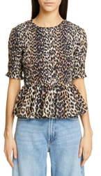 Ganni Leopard Print Cotton & Silk Peplum Top