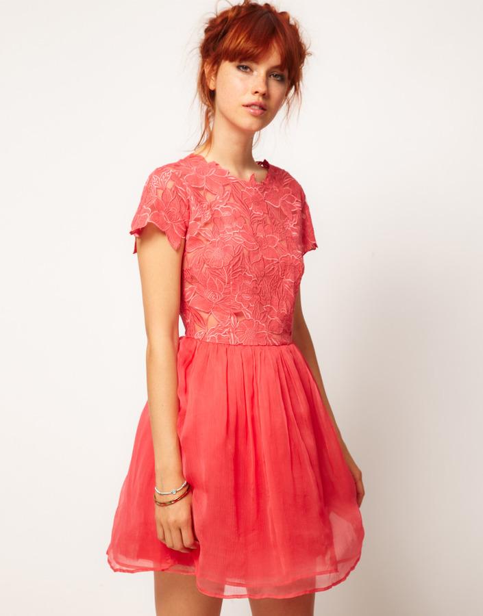 Asos SALON Skater Dress with Applique Flower Top