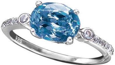 Avon Sterling Silver Created Aquamarine Ring