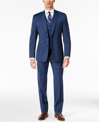 MICHAEL Michael Kors Men's Classic-Fit Medium Blue Neat Vested Suit $695 thestylecure.com