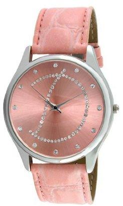 Viva シルバートーンラウンドクリスタルダイヤル初期「D」ピンクストラップ腕時計# v1650p-d
