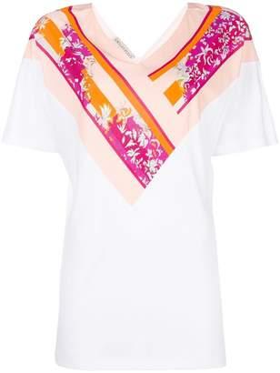 Emilio Pucci floral insert V-neck T-shirt