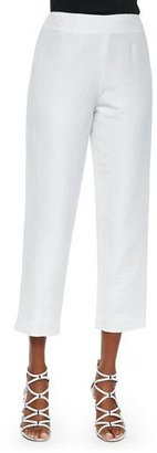 Neiman Marcus Lined Linen-Blend Cropped Pants, White $150 thestylecure.com