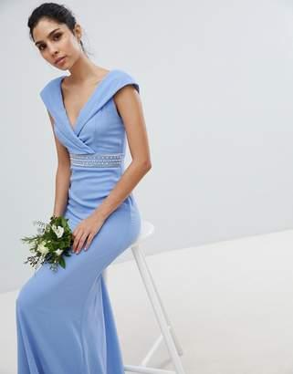 TFNC Bardot Maxi Bridesmaid Dress With Fishtail and Embellished Waist