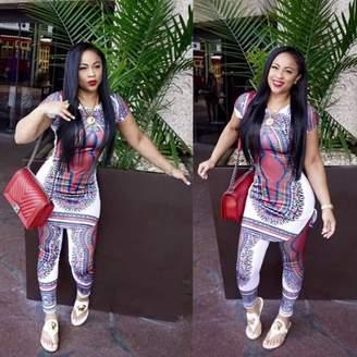 MORE Fashion African Totem Printed Women Long Comfortable T Shirt+ Pants Trousers