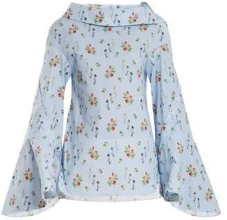 Teija - Flared Sleeve Floral Print Cotton Top - Womens - Blue Print