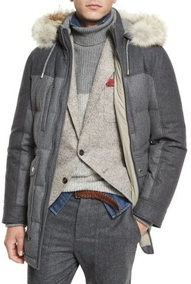 Brunello Cucinelli Mixed-Media Quilted Parka w/Fur-Trim Hood, Lead $6,745 thestylecure.com