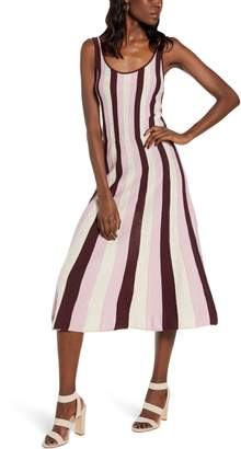 Leith Stripe Fit & Flare Sweater Dress