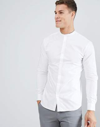 Selected Slim Shirt With Tipped Grandad Collar