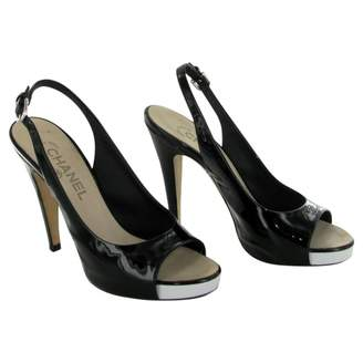 Chanel Open Black And White Patent Leather Pumps. Size 37.