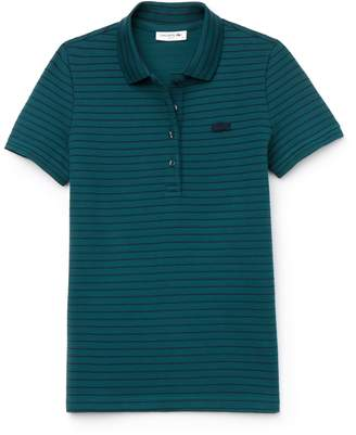 Lacoste Women's Slim Fit Striped Stretch Cotton Mini Pique Polo