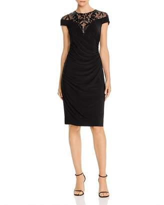 Adrianna Papell Embellished Lace Yoke Dress