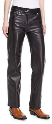 Calvin Klein Leather Straight-Leg Jeans