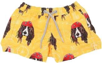MC2 Saint Barth Pirate Dog Print Nylon Swim Shorts