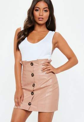 Missguided Pink Faux Leather Button Paperbag Mini Skirt