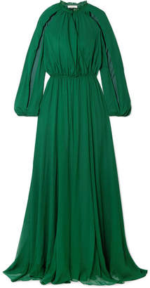 Semsem Cutout Gathered Silk-chiffon Gown - Emerald