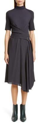 Brunello Cucinelli Asymmetrical Mixed Media Midi Dress