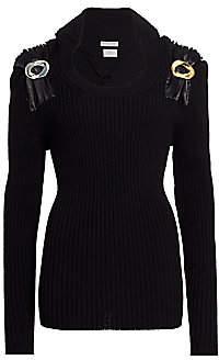 Bottega Veneta Women's Metal Pin-Trimmed Ribbed Sweater