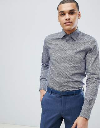 Esprit Slim Fit Shirt With Floral Print IN NAVY