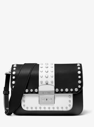 MICHAEL Michael Kors Sloan Editor Studded Two-Tone Leather Shoulder Bag
