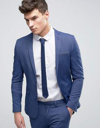 Asos Design WEDDING Super Skinny Suit Jacket In Denim Twist