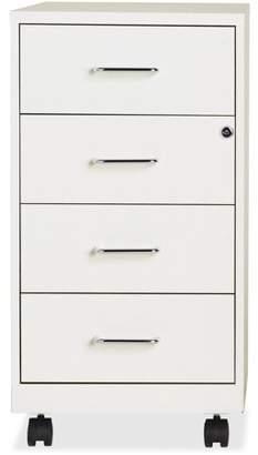"Lorell 4-Drawer 26-1/2"" Mobile Storage Cabinet, White"