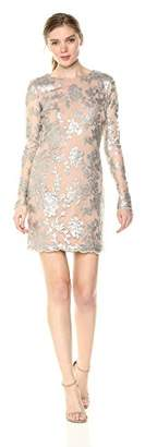 Dress the Population Women's Grace Long Sleeve Sequin Lace Mini Dress