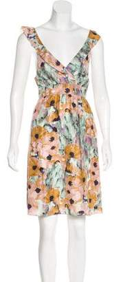 Theory Printed Sleeveless Knee-Length Dress