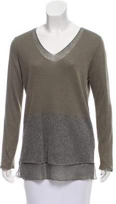 Fabiana Filippi Metallic-Accented V-Neck Sweater