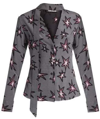 Rockins - Explosion Print Silk Crepe De Chine Shirt - Womens - 1061 Black Multi