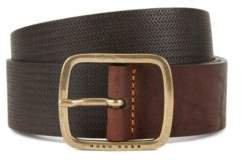 BOSS Hugo Vintage-look leather belt antique-effect hardware 34 Dark Brown