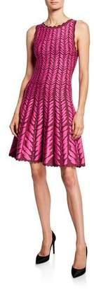Zac Posen Leaf-Jacquard Knit Dress
