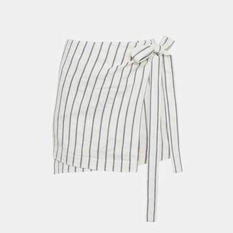 Theory Striped Linen Wrap-Tie Skirt